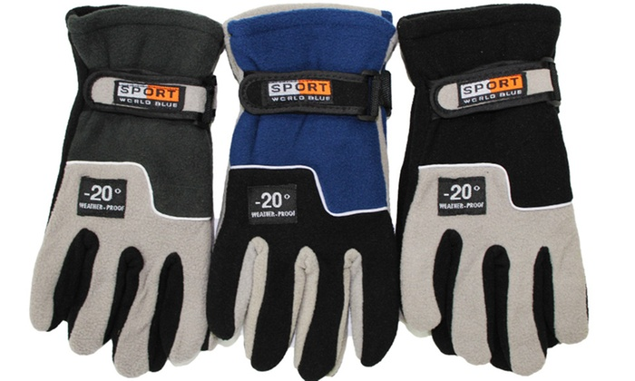 Men's Thermal-Insulated Fleece Gloves (3-Pairs)
