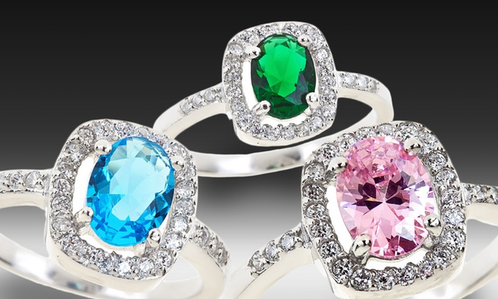 Colored Oval Cubic Zirconia Halo Rings: Colored Oval Cubic Zirconia Halo Rings. Multiple Styles Available.