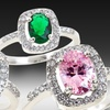Colored Oval Cubic Zirconia Halo Rings