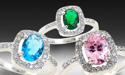 Colored Oval Cubic Zirconia Halo Rings. Multiple Styles Available.