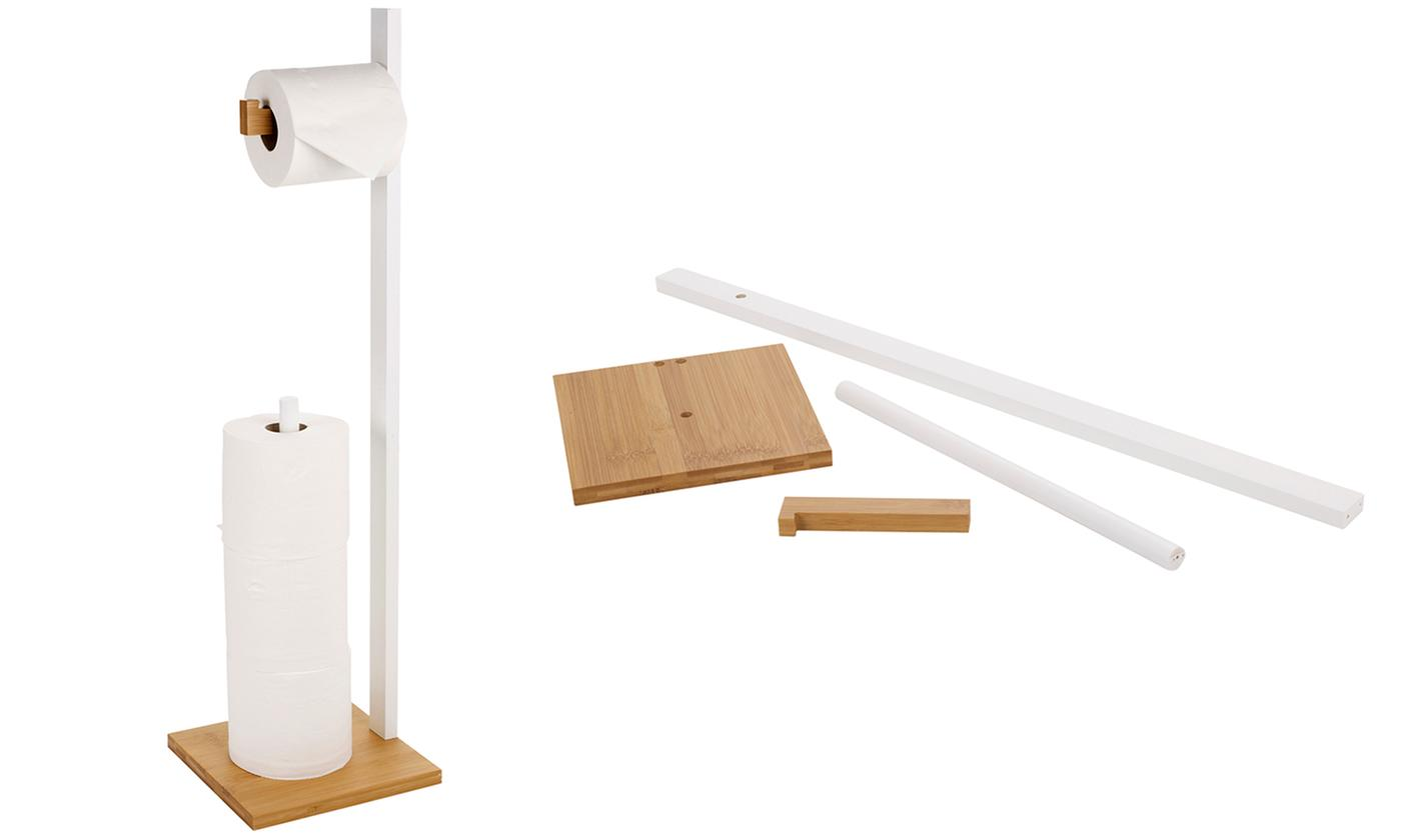 Wooden Toilet Paper Rolls Holder with Storage Stand