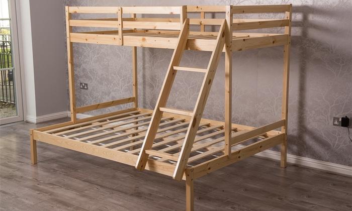 Triple Sleeper Bunk Bedframe with Optional Mattresses