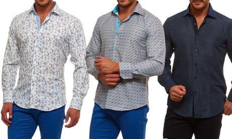 Azaro Uomo Men's Geo-Printed Slim Fit Button-Down