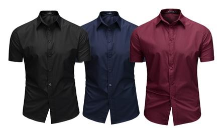 Stefan Mens Plain Short Sleeve Shirt
