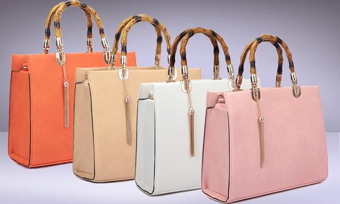 Dasein Collection 5th Ave Bamboo Handbag