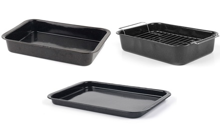 Russell Hobbs COMBO1970 Romano Vitreous Enamel Baking Tray, Roaster and Roaster with Rack, Black