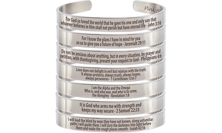 Solid Stainless Steel Holy Scripture Cuff with Free Gift by Pink Box