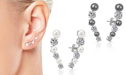One, Two or Three Pairs of Philip Jones Pearl Climber Earrings with Crystals from Swarovski®