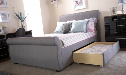 novello silver fabric bed