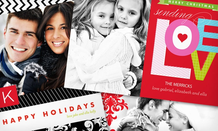 Personalized Holiday Photo Cards: 40, 75, or 110 Personalized Holiday Photo Cards from InvitationBox (Up to 84% Off). Free Shipping.