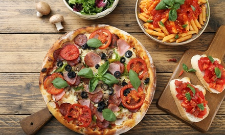 Fifty-Fifty Pizza and Pasta with Optional Wine for Two at Olives and Pesto (Up to 47% Off)