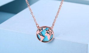 Turquoise World Map Necklace By Gembassy