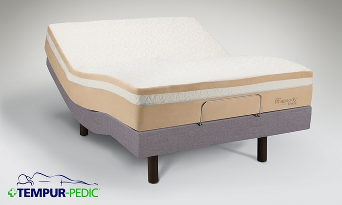 tempur pedic contour rhapsody breeze memory foam mattress and adjustable frame free white glove - Tempur Pedic Bed Frames