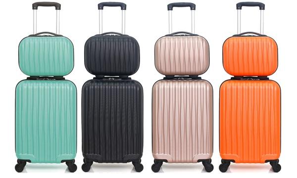 Valise Cabine Bagage Resistant et L/éger Set 3 Bagages 4 roulettes Pivotantes Valise Week-End Wave Paris Valise Soute Set de 3 Valises Elbe Beige Valises Rigides ABS avec Serrure TSA