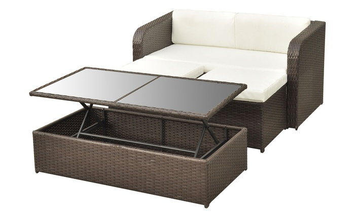 Salon de jardin rotin avec table plateau relevable | Groupon