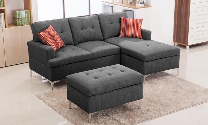 Baxton Studio 3-Piece Sectional Sofa with Ottoman Set Baxton Studio Riley Grey Fabric : sectional sofa and ottoman set - Sectionals, Sofas & Couches