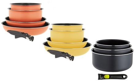 Ogo Cookware Range: Removable Handle, TwoPiece Pan Set, ThreePiece Saucepan Set or FivePiece Cookware Set