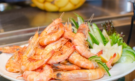 Seafood Buffet + Wine: 2 $59 or 4 Ppl $115 at Buffet Amici Italian & Mediterranean Style Cuisine Up to $176 Value