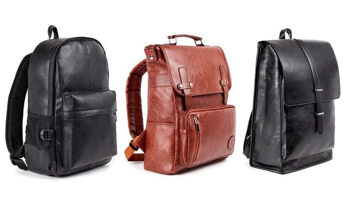 f01e87e5d040 Up To 40% Off on Men's Faux Leather Backpack | Groupon Goods