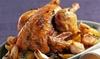 Pollo asado con patatas y bebida