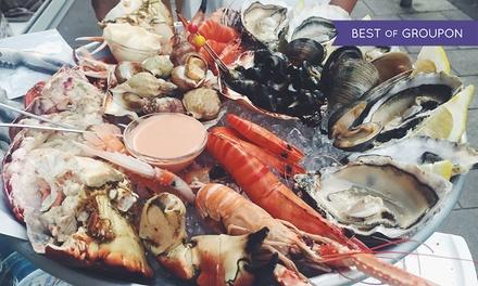 Menu di pesce alla carta, crudi, bottiglia a 49,90€euro