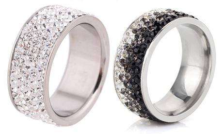 1 o 2 anillos de acero inoxidable Lynda decorados con cristales de Swarovski®