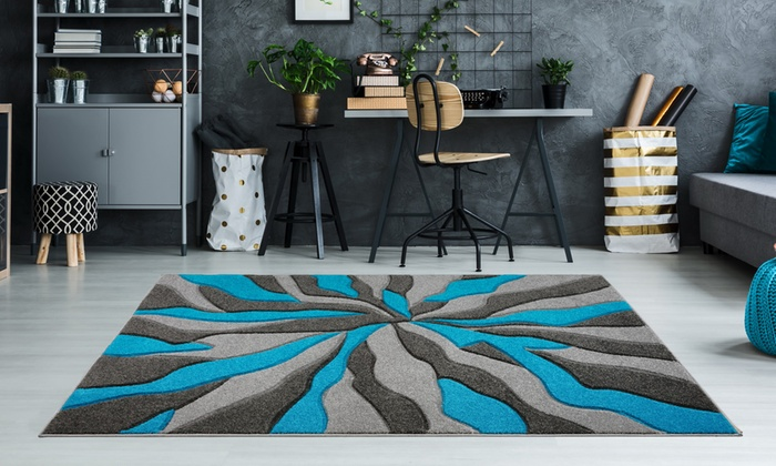 Modern Abstract Design Thick Carved Rug in Choice of Colour