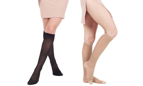 1 oder 2 Paar  Kompressions-Kniestrümpfe in Schwarz oder Beige in der Größe nach Wahl