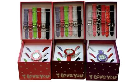 Interchangeable Multicoloured Bezel and Strap Watch