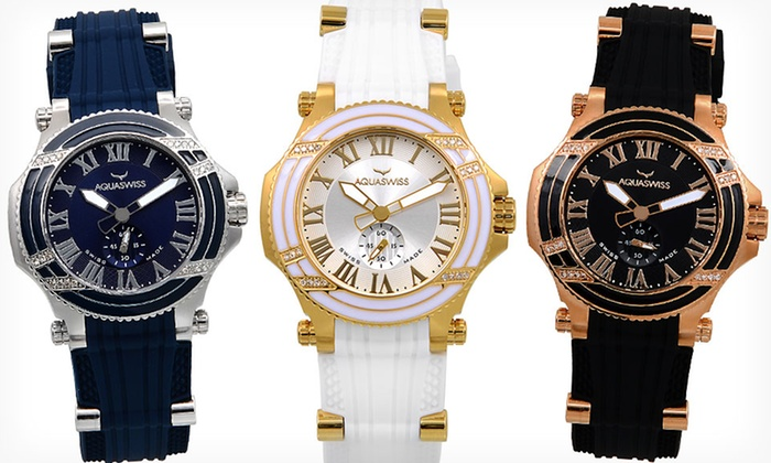 Aquaswiss Diamond Watches for Men or Women: $149.99 for an Aquaswiss Unisex Bolt L Diamond Watch ($1,495 List Price). 7 Styles Available. Free Shipping and Returns.