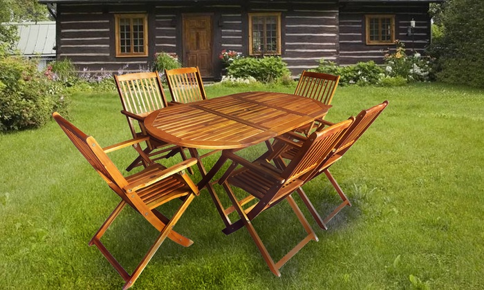 Astounding Acacia Wood Garden Dining Set Groupon Download Free Architecture Designs Sospemadebymaigaardcom