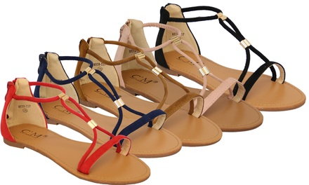 Women's Suede-Look Flat Sandals