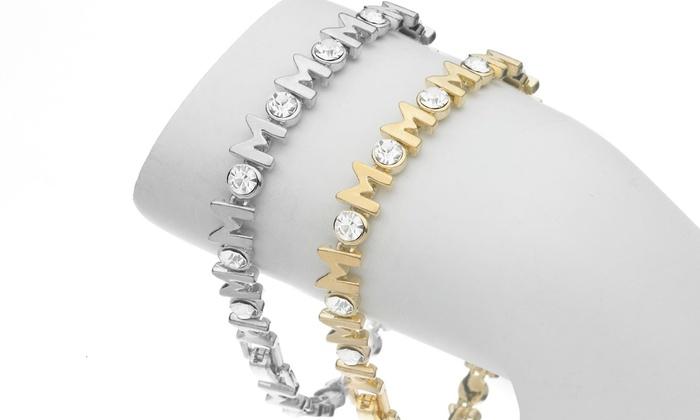 Mom Bracelet With Swarovski Crystals