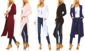Isaac Liev Extra-Long Lightweight Cardigan with Side Slits