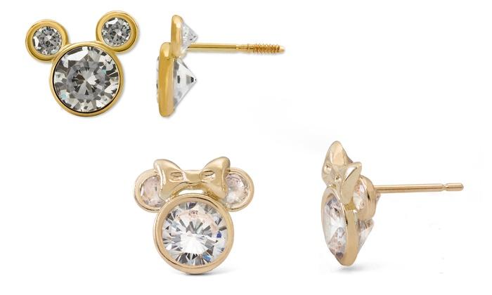 50d6f7f1f Kids' 10K Gold Disney Mickey or Minnie Cubic Zirconia Stud Earrings