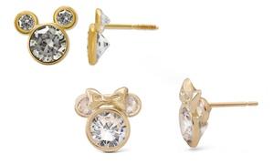 Kids' 10K Gold Disney Mickey or Minnie Cubic Zirconia Stud Earrings