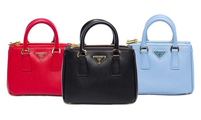 Prada Saffiano-Leather Handbag | Groupon Goods