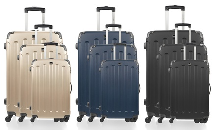BlueStar Madrid Three Piece ABS Luggage Set in Choice of Colour With Free Delivery