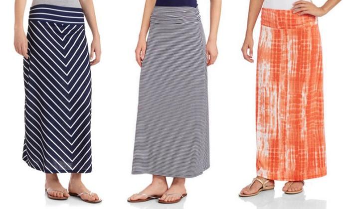 Jada Collections Womens Printed Jersey Knit Maxi Skirt Groupon