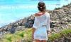 Gehäkelte Strand-Tunika in Weiß mit langen Ärmeln