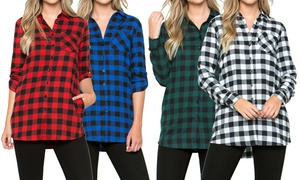 Acting Pro Women's Buffalo Check Plaid Button-Down Shirt with Pockets