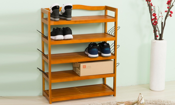 One or Two Vivo Five-Tier Wooden Shoe Storage Racks