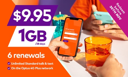 $9.95 for 6 x 28-Day Renewals of amaysim Unlimited 1GB per Renewal Mobile Plan (Don't Pay $60)