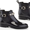 Women's Pull-On Elastic Ankle Rain Booties with Diamond Ankle Belt