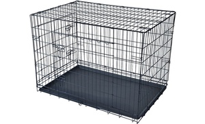 Pet Kennel Cat and Dog Folding Crate Wire Metal Cage with Divider