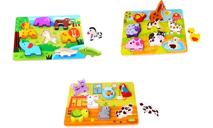 Set of 3 Wooden 3D Animal Puzzle Tooky Toy