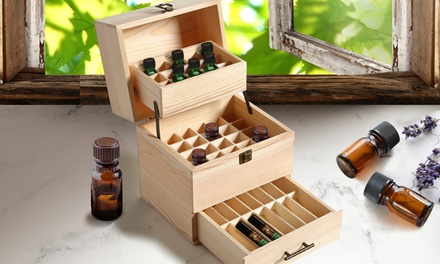 Essential Oil Wooden Storage Box: 25- ($19), 59- ($29) or 70-Slot ($34.99)