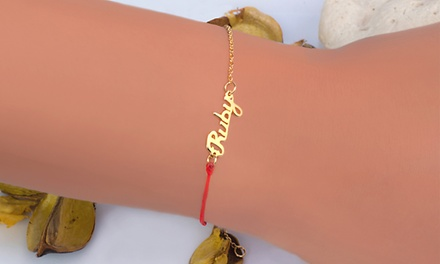 Silver- or 14k-Gold-Plated Personalized Red String Good Luck Bracelet from MonogramHub (Up to 82% Off)
