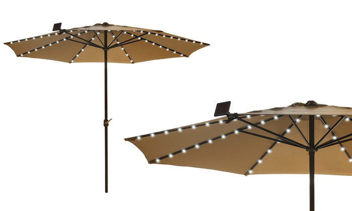 sundale lighted led outdoor powered tilt umbrella blue with feet solar patio and crank