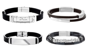 Steel Evolution Men's Leather Bracelets with Stainless Steel Bar